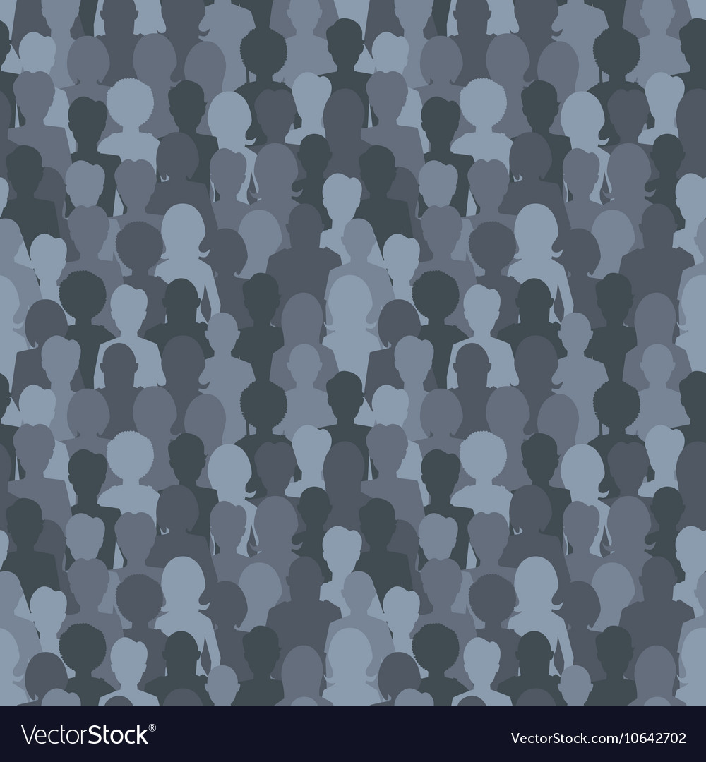Many dark silhouettes crowd of people seamless vector