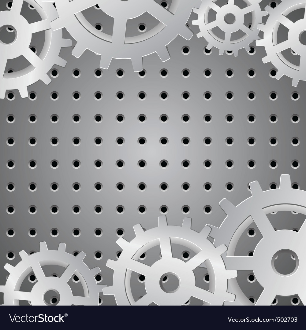 Silver background with metallic wheels vector
