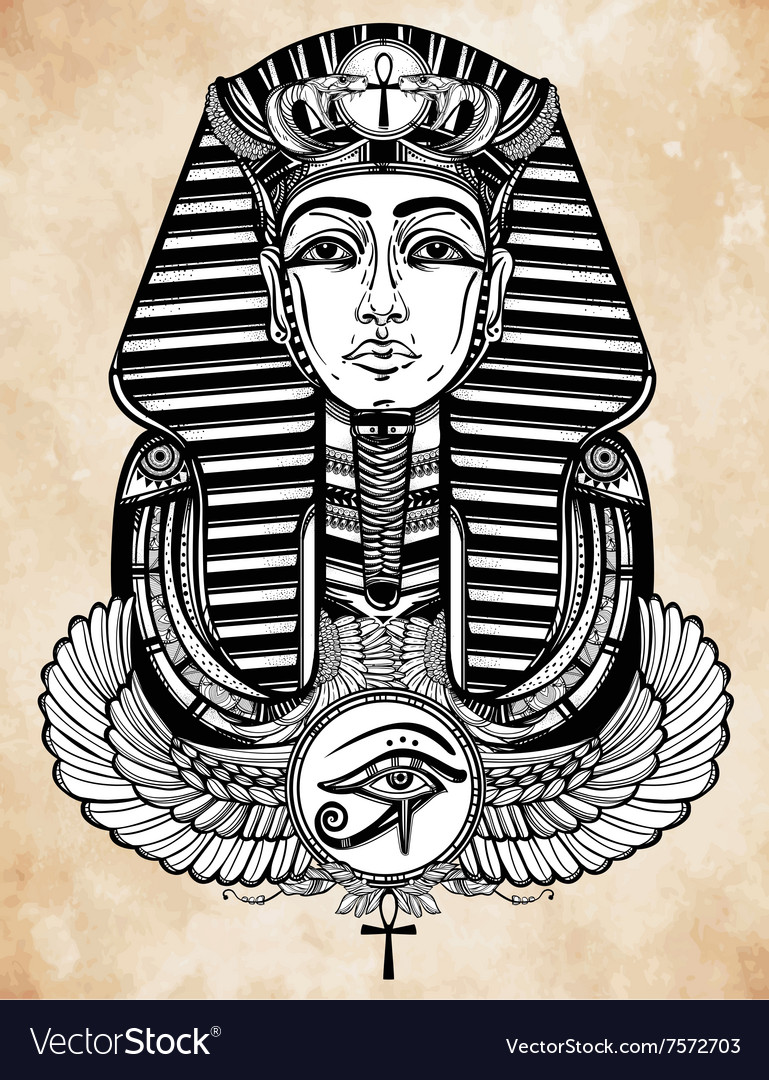 Vintage tattoo pharaoh with winged ankh vector