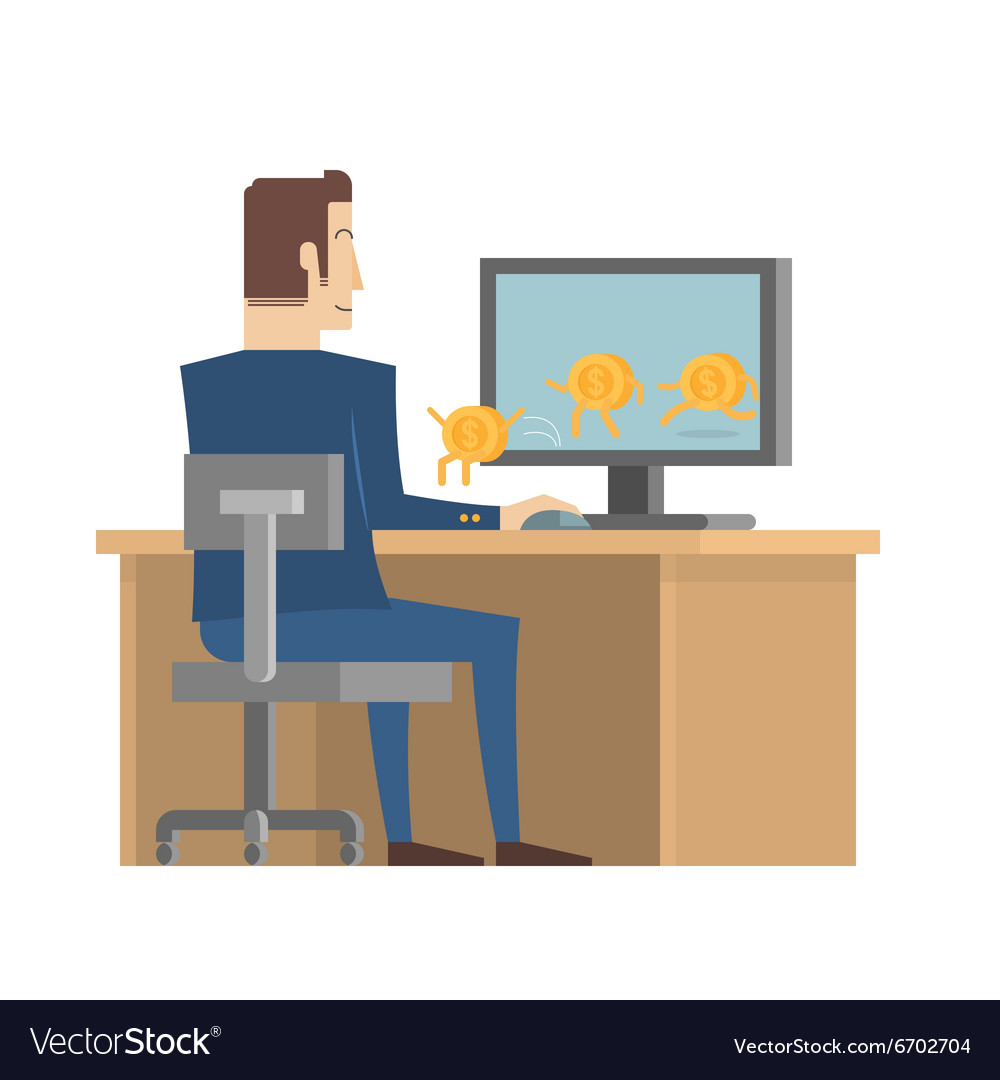 Businessman receive money from computer vector