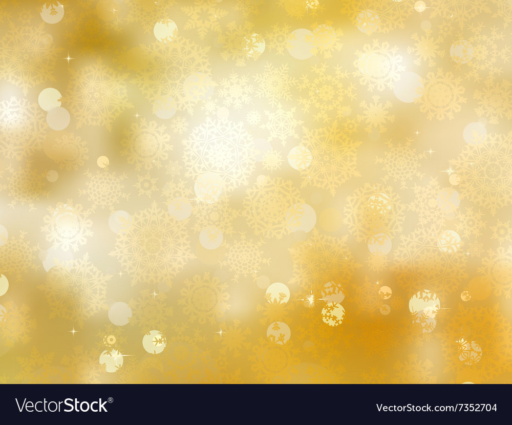 Gold christmas background with snowflakes eps 8 vector