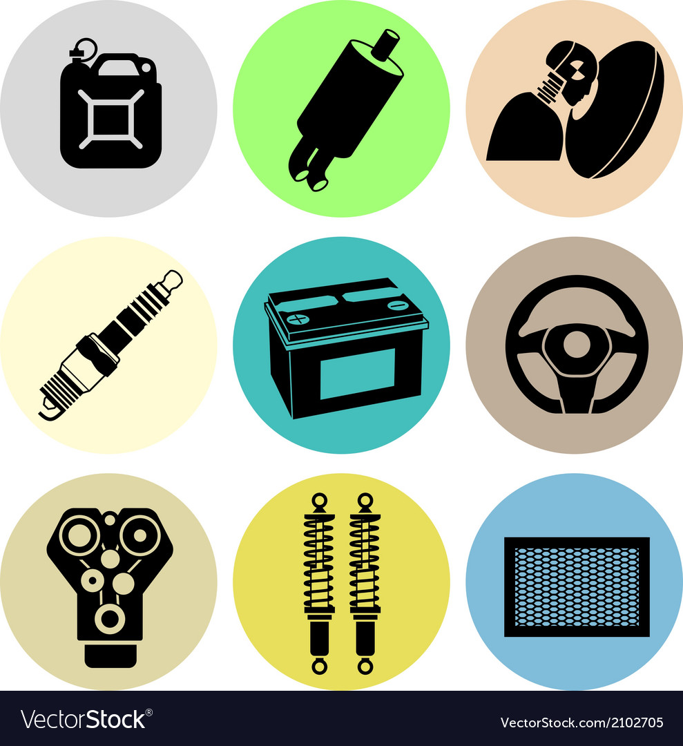 Car maintenance icons in color vector