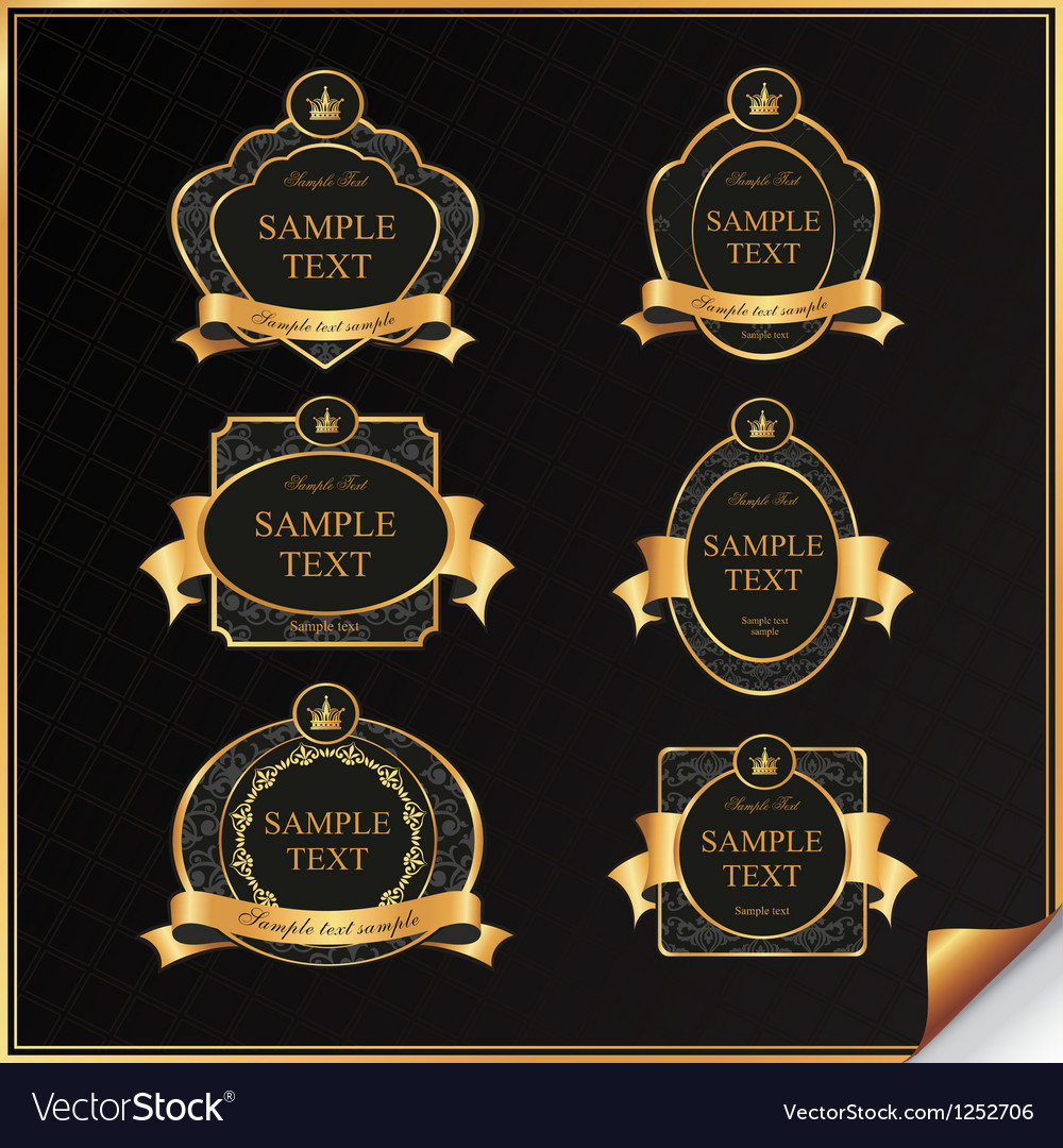 Vintage set of black frame label with gold element vector