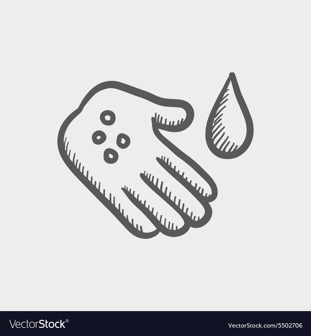 Wash the wound with watre sketch icon vector