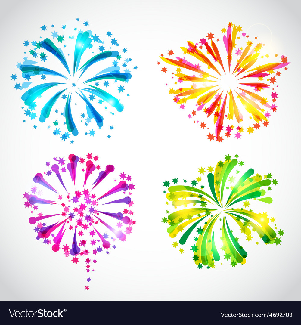 Set of bright colorful fireworks and salute vector