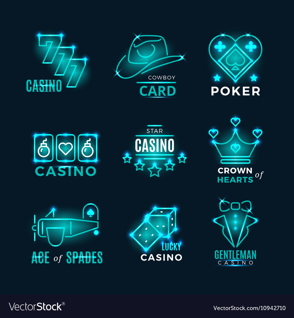 Vintage neon poker tournament and casino vector