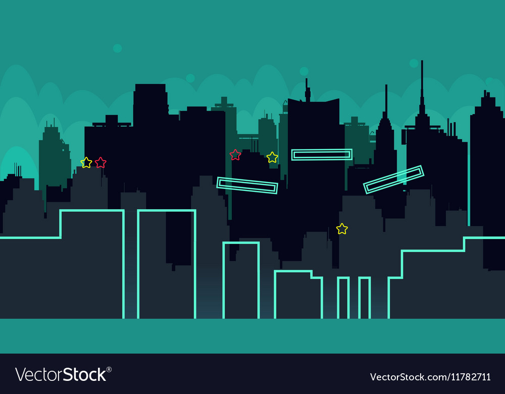 Seamless cartoon night city landscape vector