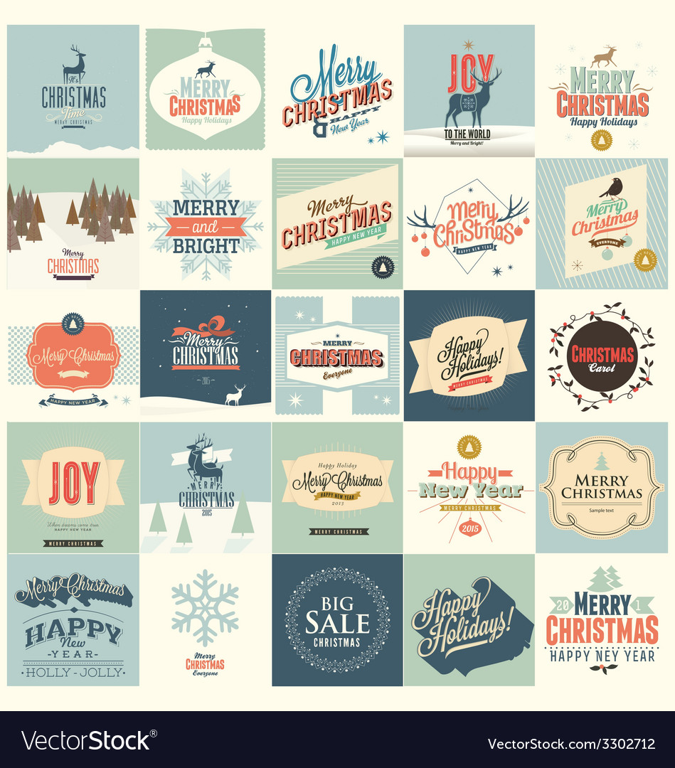 25 christmas card vector