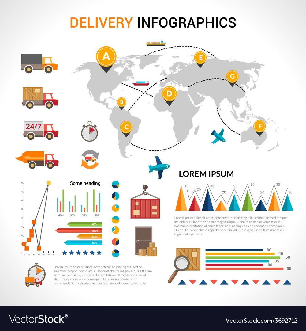 Delivery flat infographics set vector