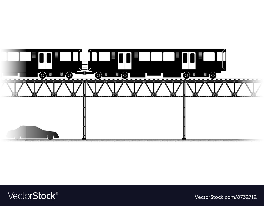 Elevated train in chicago vector