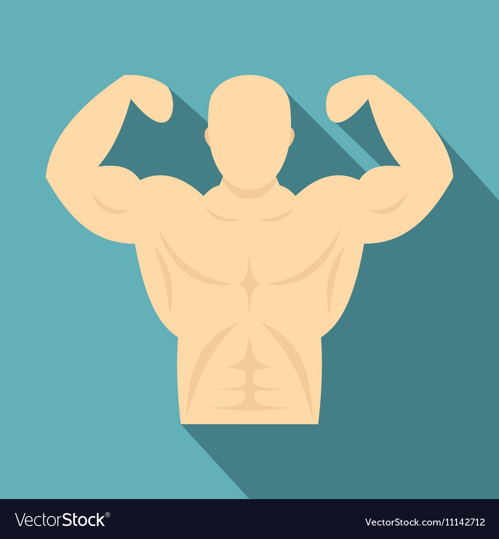 Strong athletic man icon flat style vector