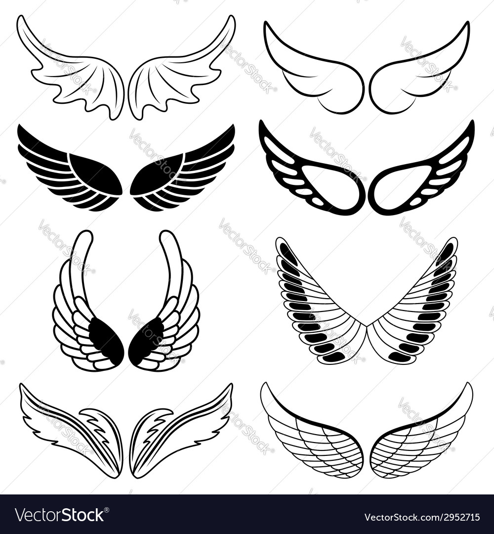 Set of eight black and white silhouettes of wings vector