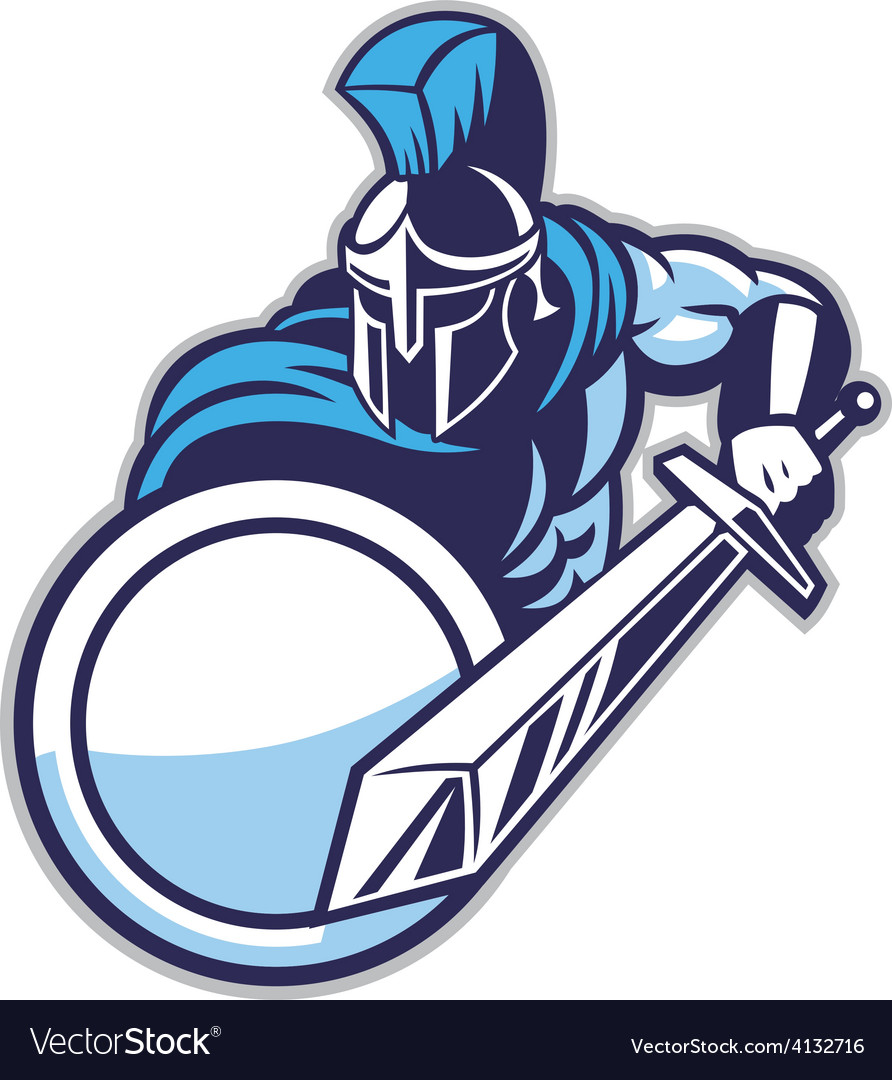 Spartan mascot show his big sword vector
