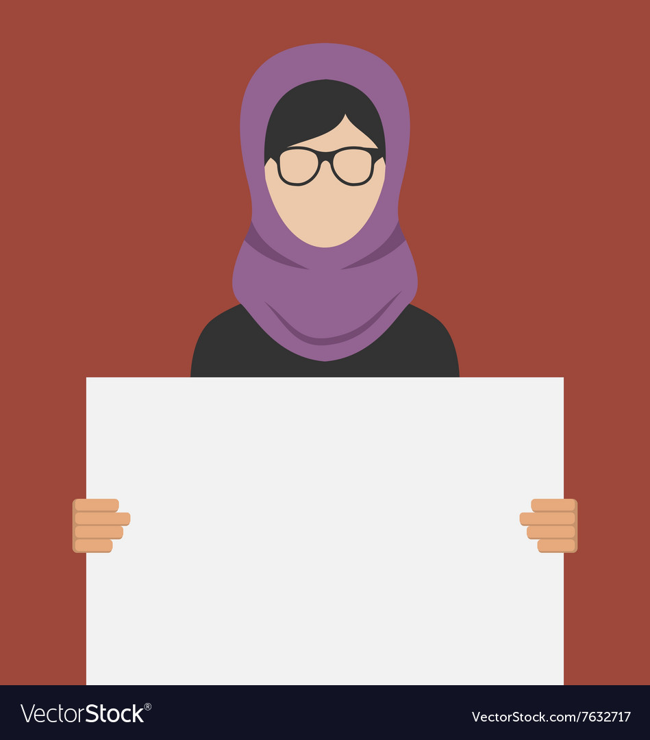Arabic woman holding a blank horizontal banner vector