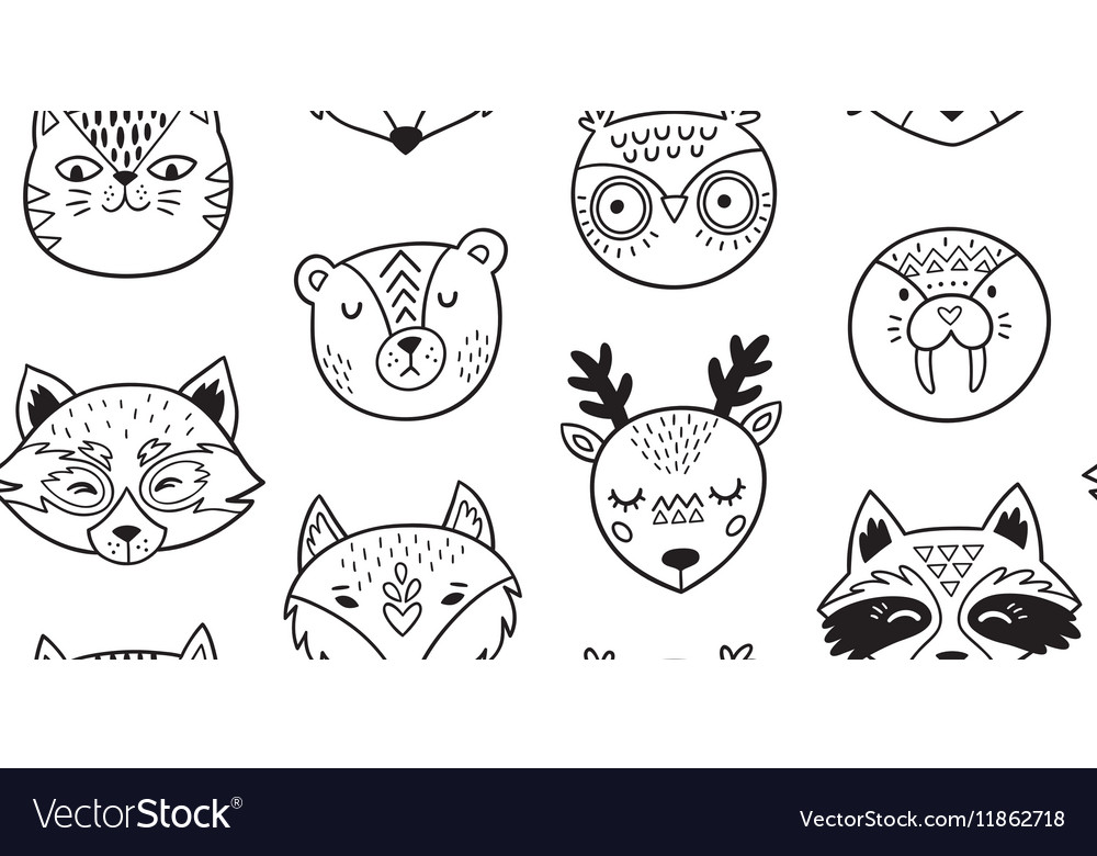 Black and white hand drawn doodle animals seamless vector