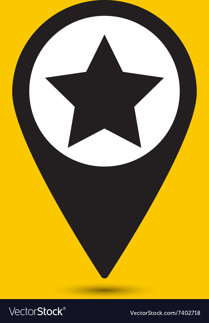 Black star marker sign icon vector