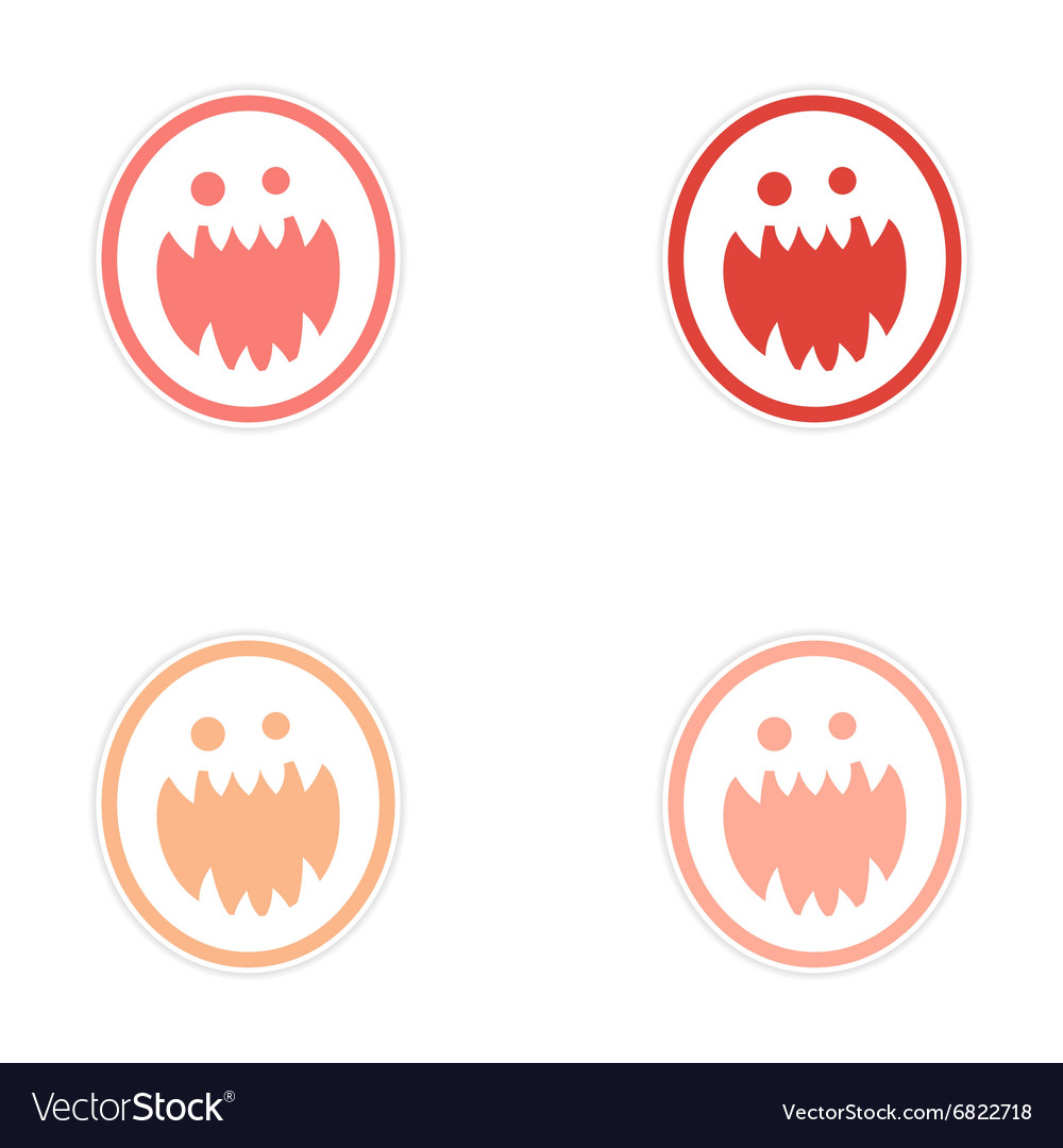 Sticker assembly bright monster with sharp teeth vector