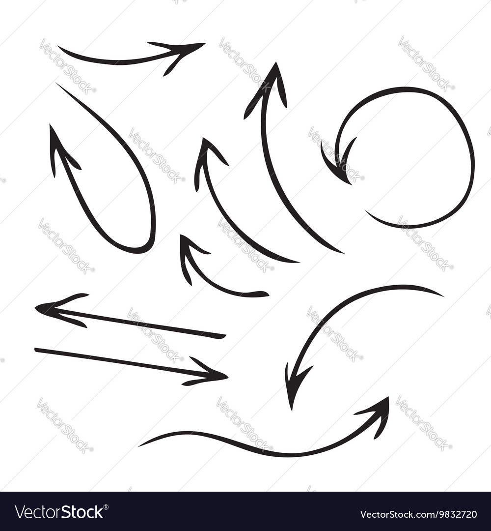 Black arrows hand drawn set vector