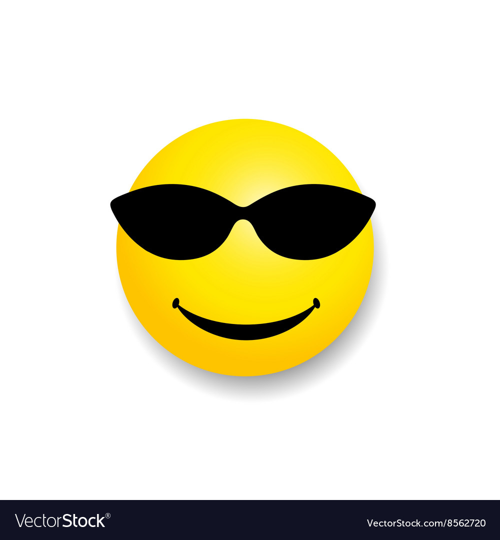 Smiley with sunglass yellow vector