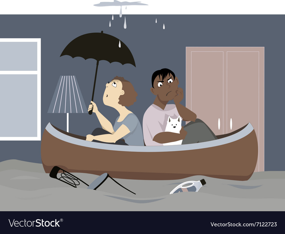 Flooded house vector