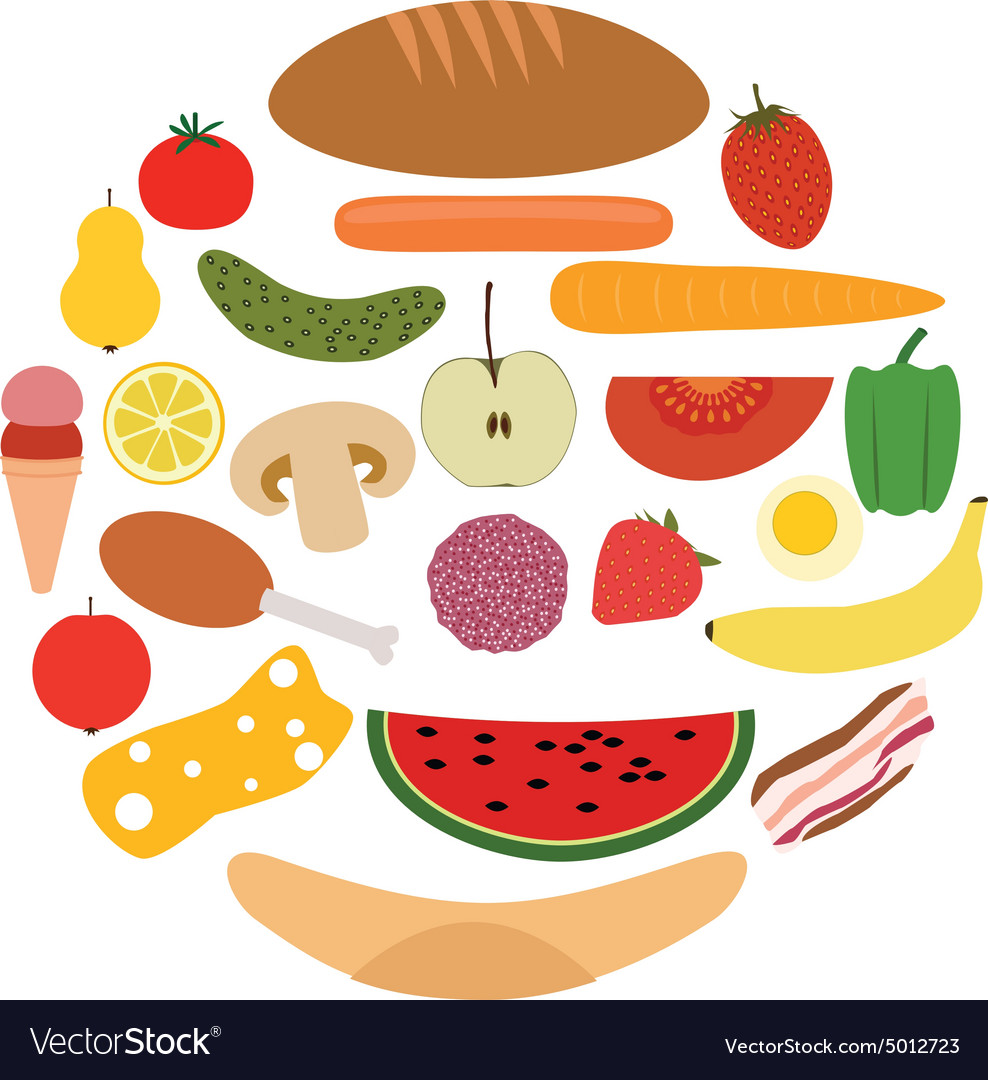 Foods in circle vector