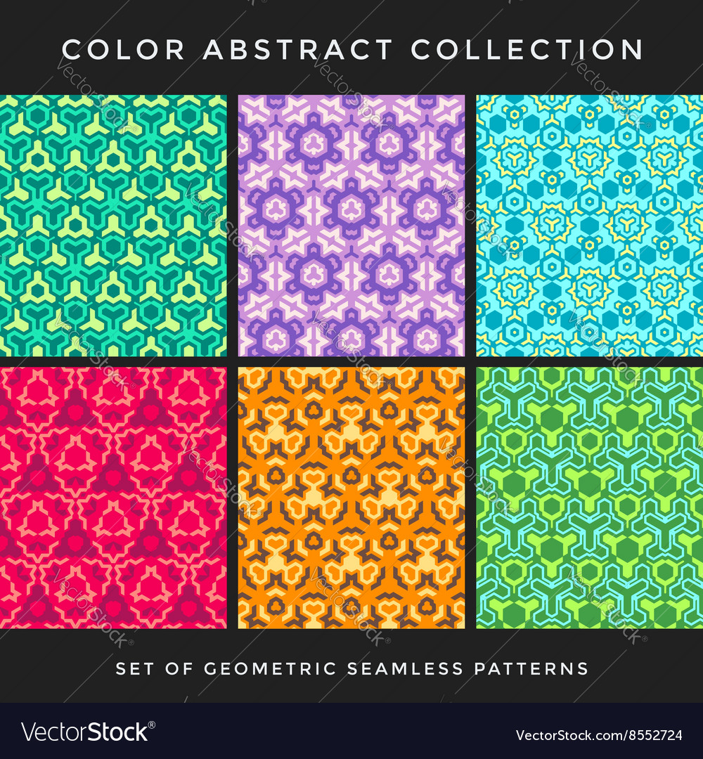 Color abstract seamless pattern set vector