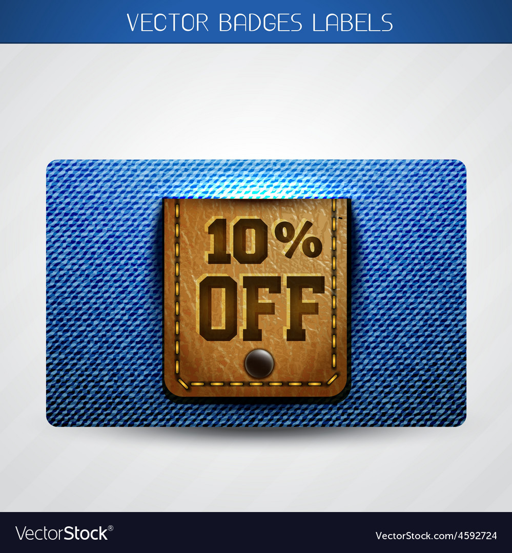 Jeans and leather dicount label vector