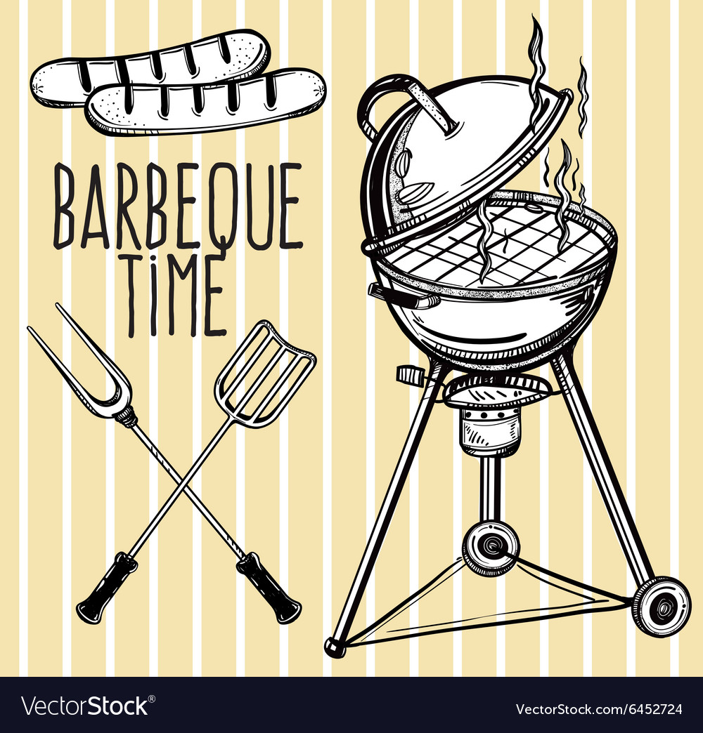 Set of barbecue line art icons vector