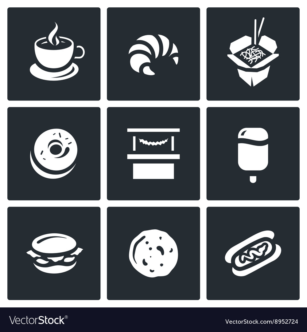 Set of street fast food icons coffee vector