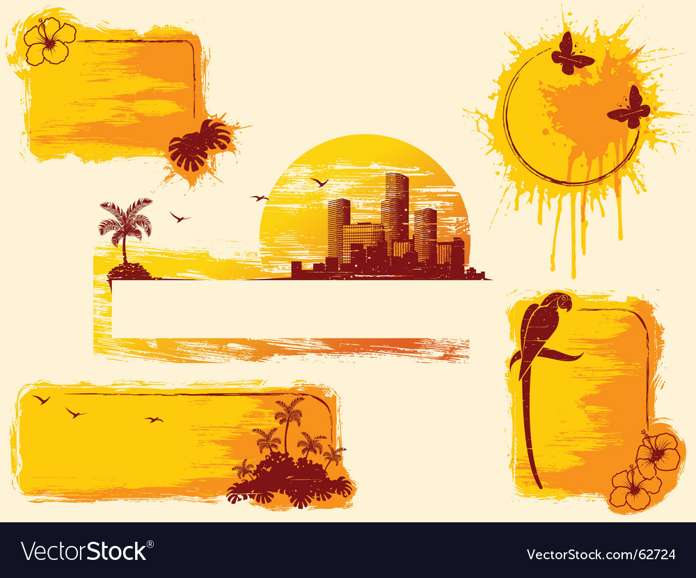 Tropical grunge banners vector