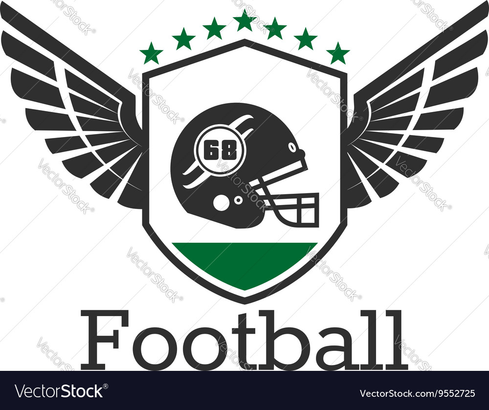 American football retro icon with helmet on shield vector