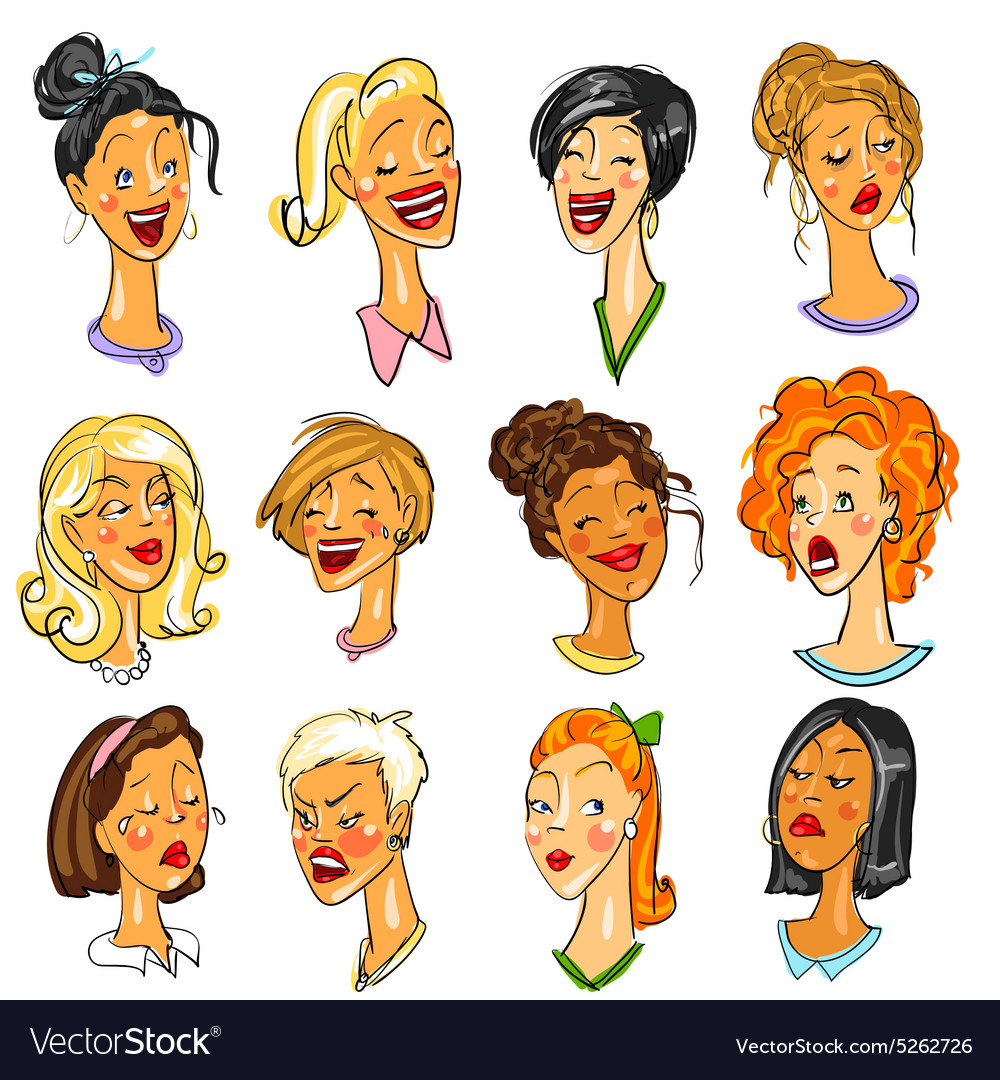 Female faces  set of expressions vector