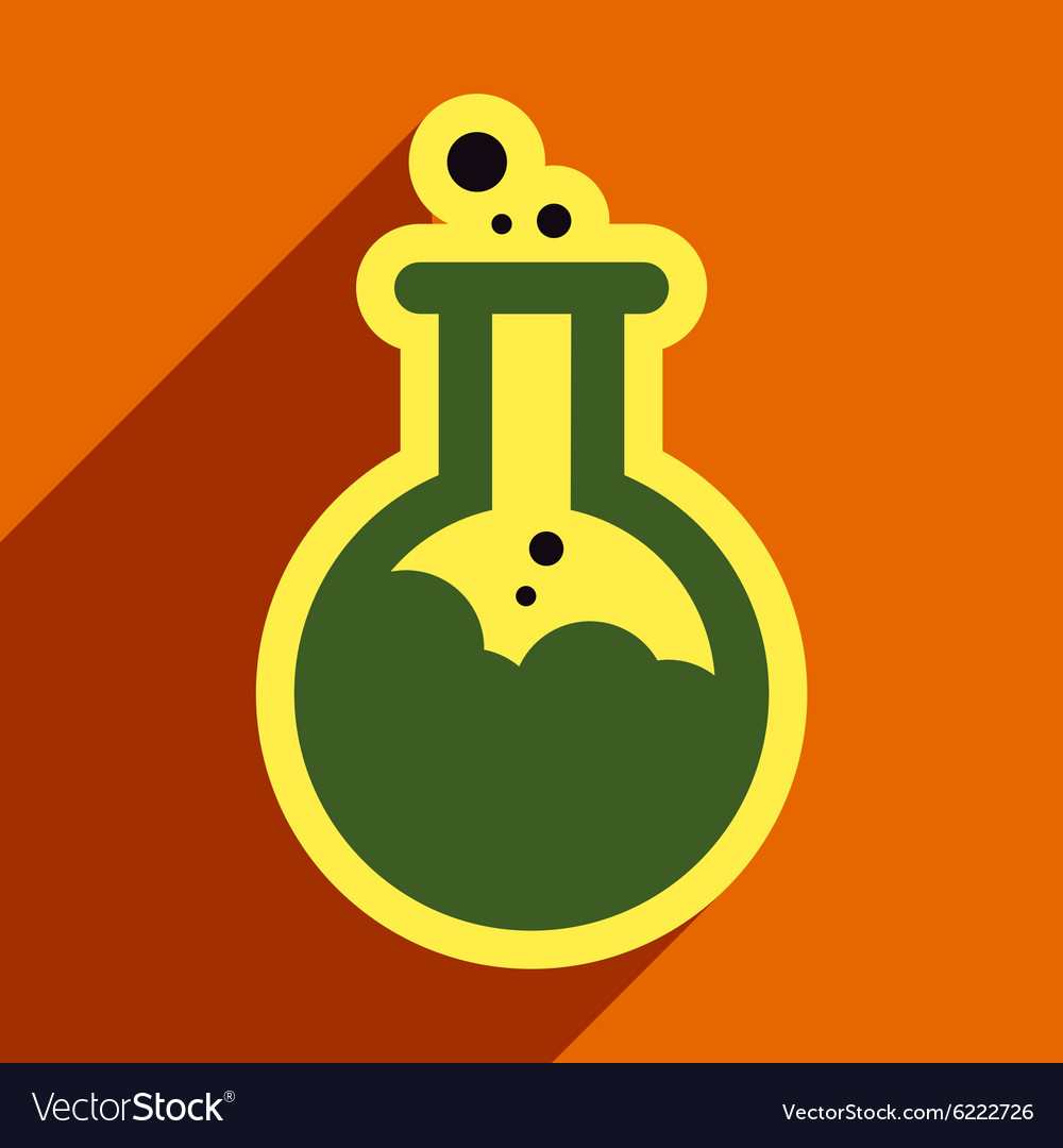 Flat with shadow icon vial of poison on colored vector