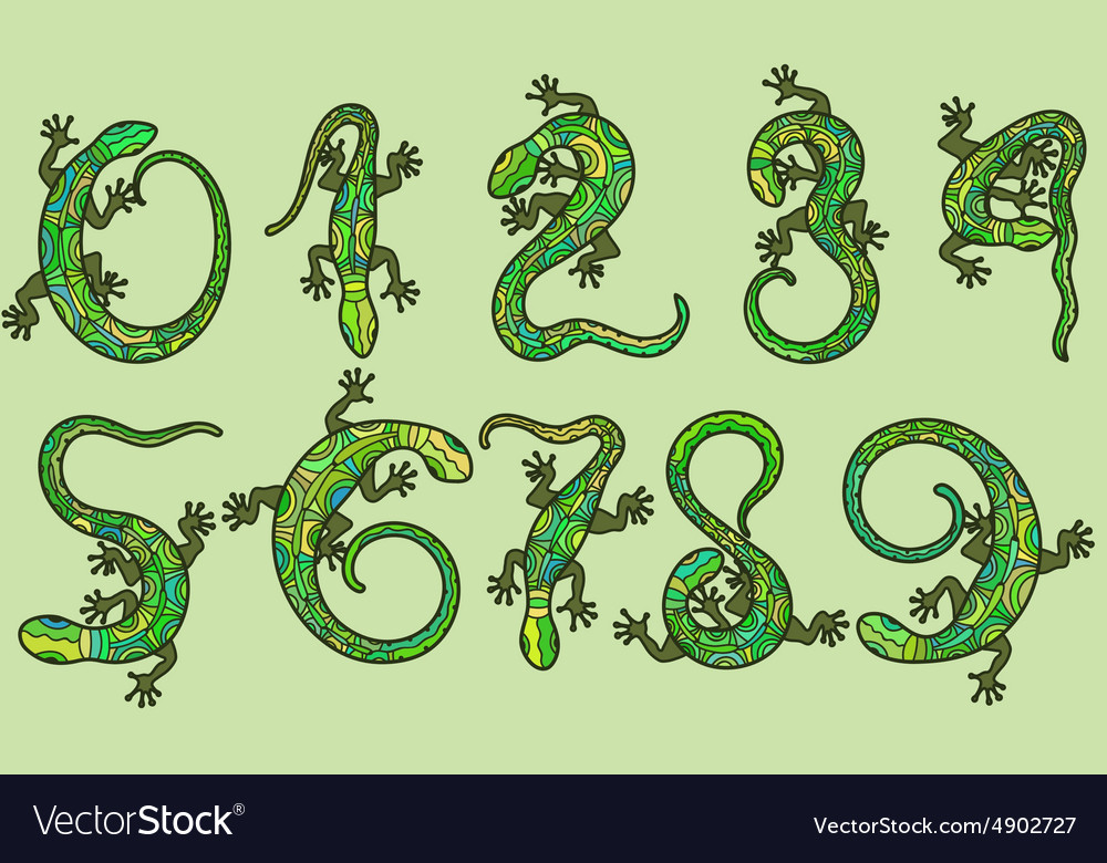 Set of ten numbers like lizards vector