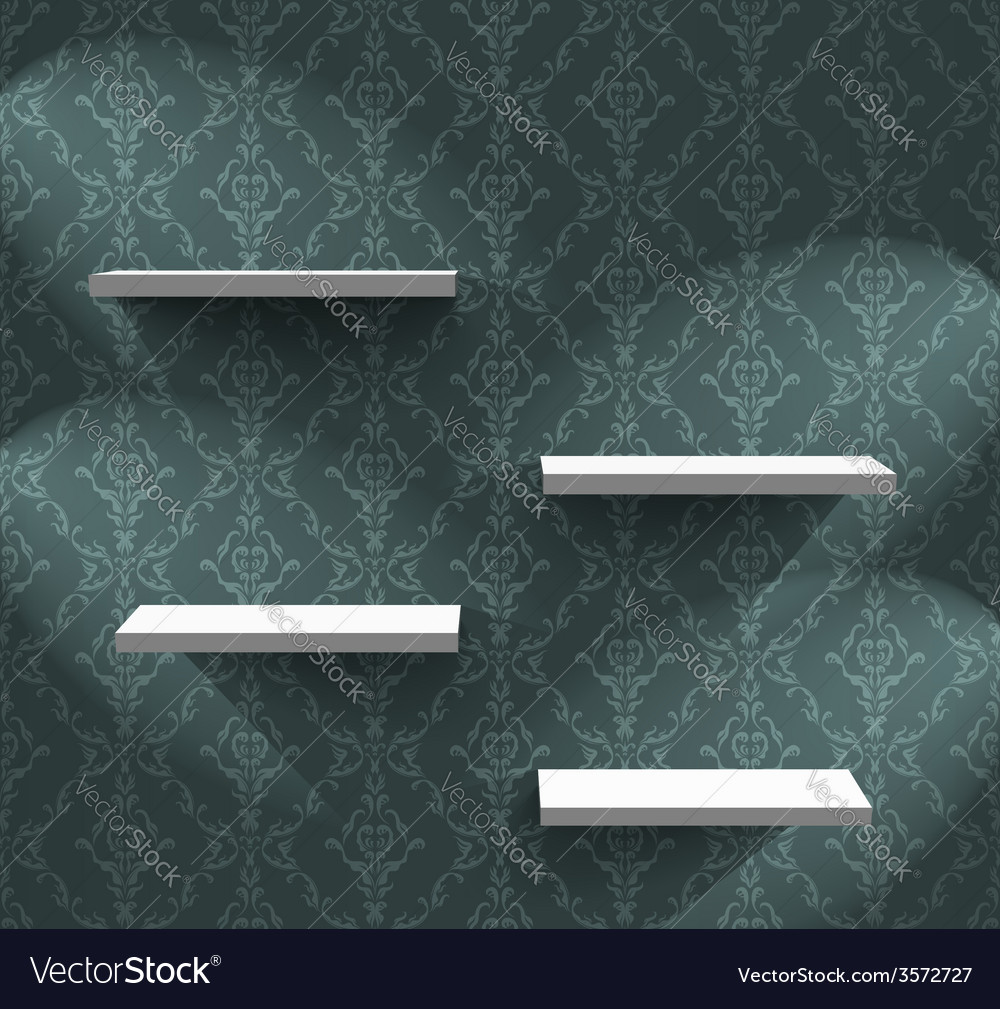 Shelves on the green wall vector