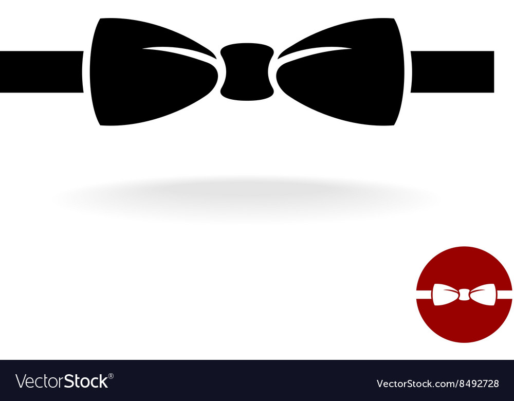 Bow tie black icon with ribbon isolated on a white vector