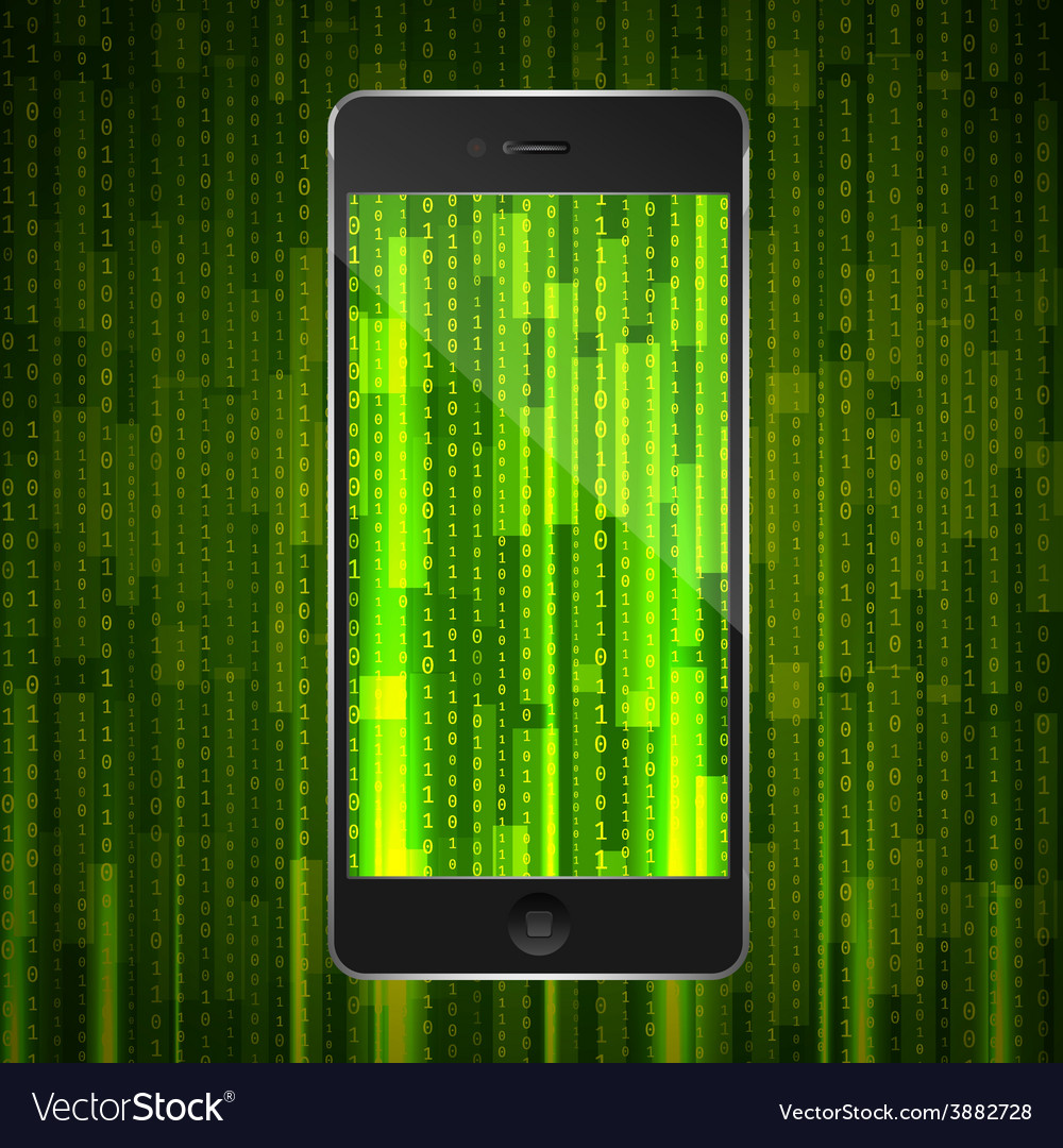 Phone with matrix background vector