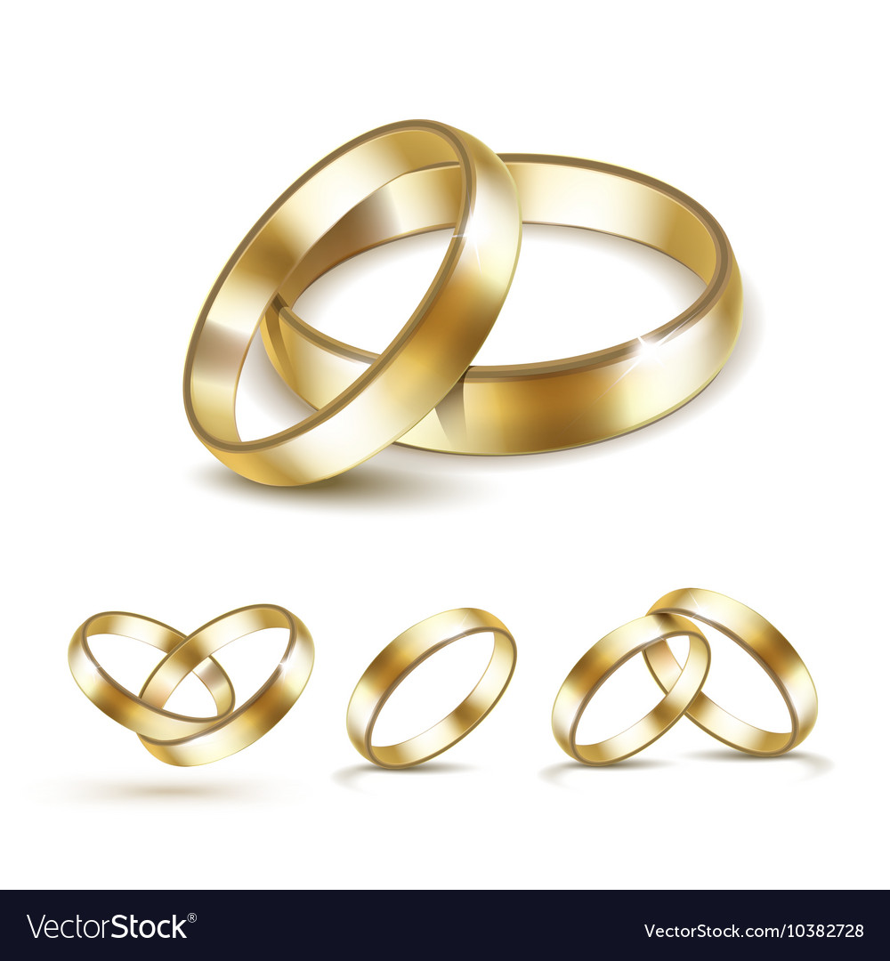 Set of gold wedding rings isolated vector