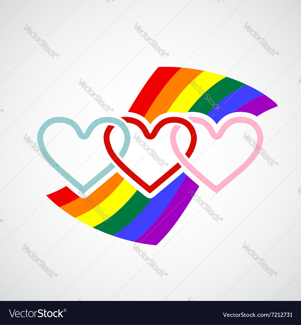 Logo hearts on rainbow background vector