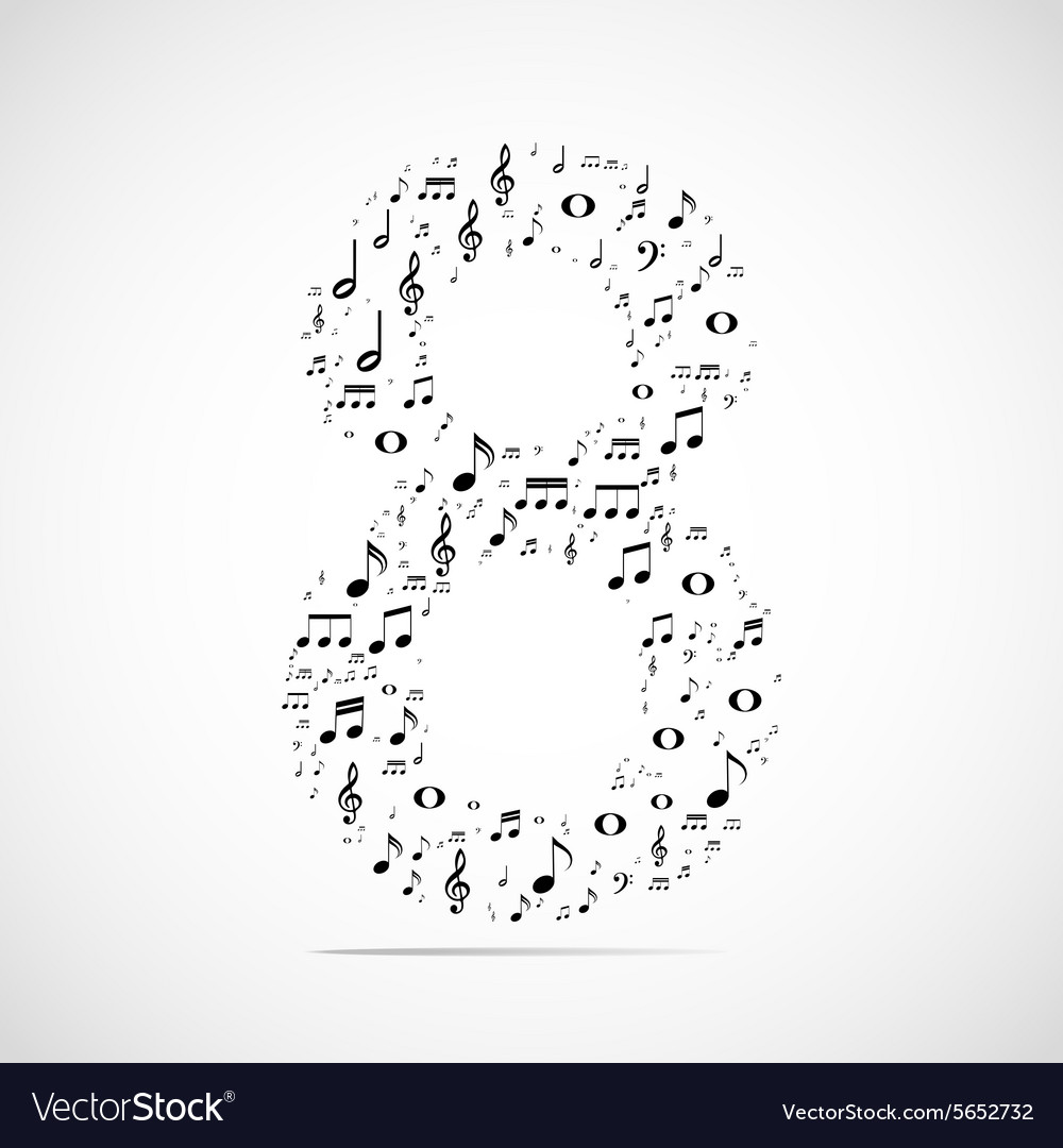 Number eight made from music notes vector