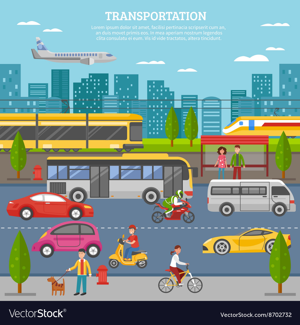 Transport in city poster vector