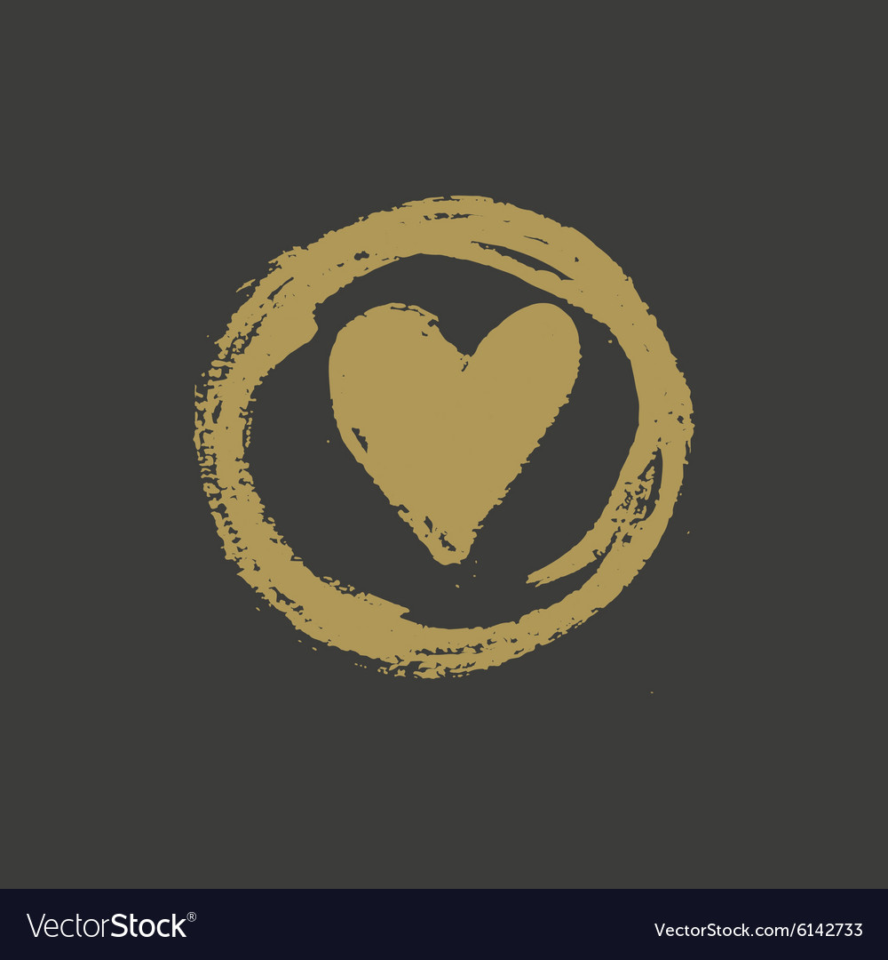 Hand drawn gold ink heart stamp vector