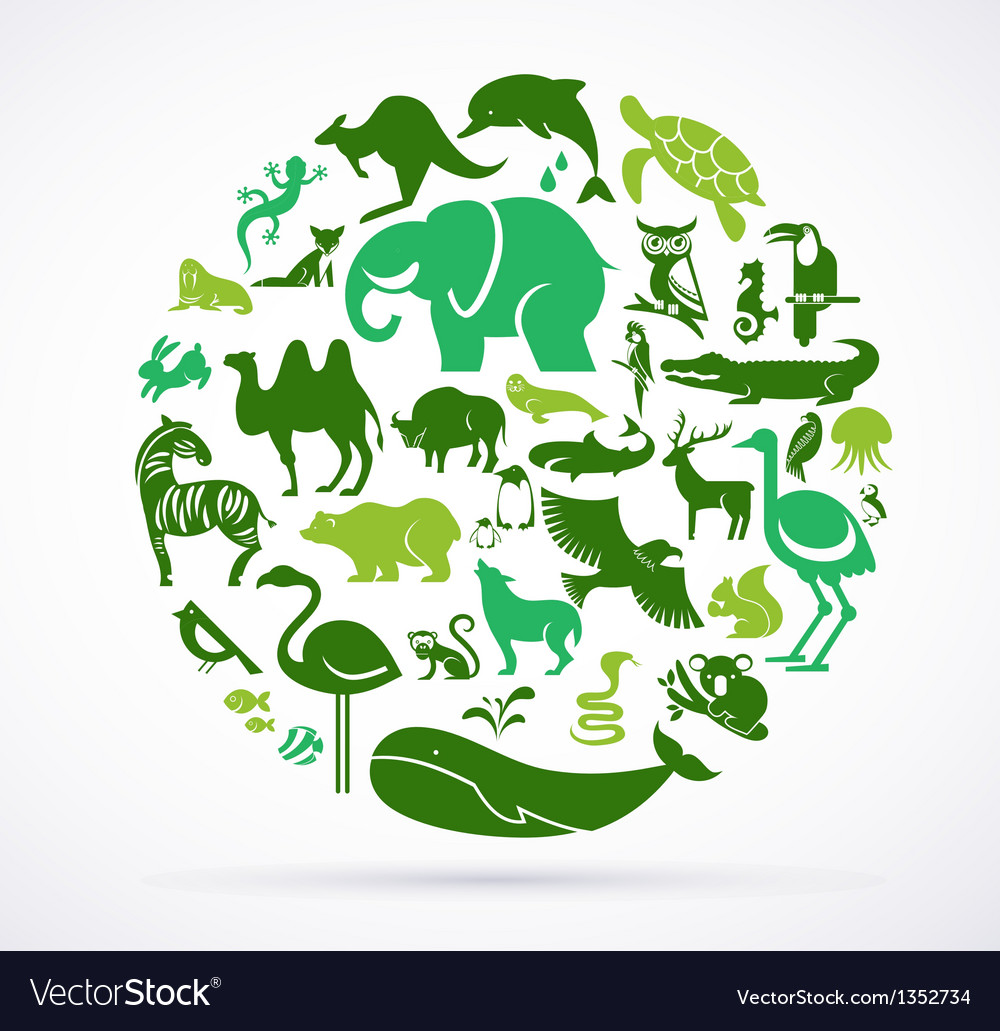 Animal green world  huge collection of icons vector