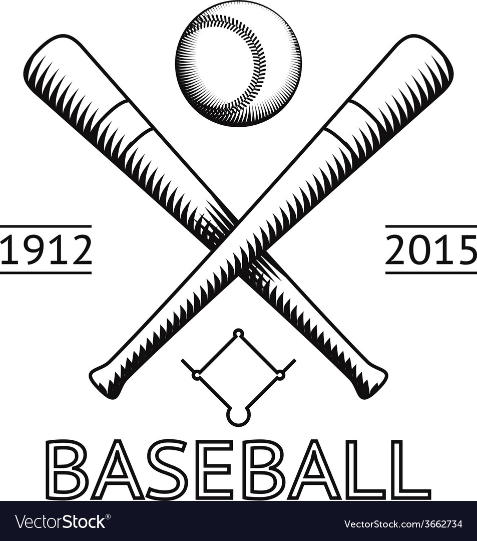 Baseball logo symbol bat ball game field icon vector