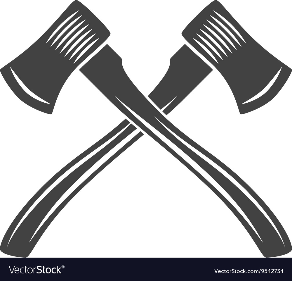 Two crossed axes with long handle logo elements vector