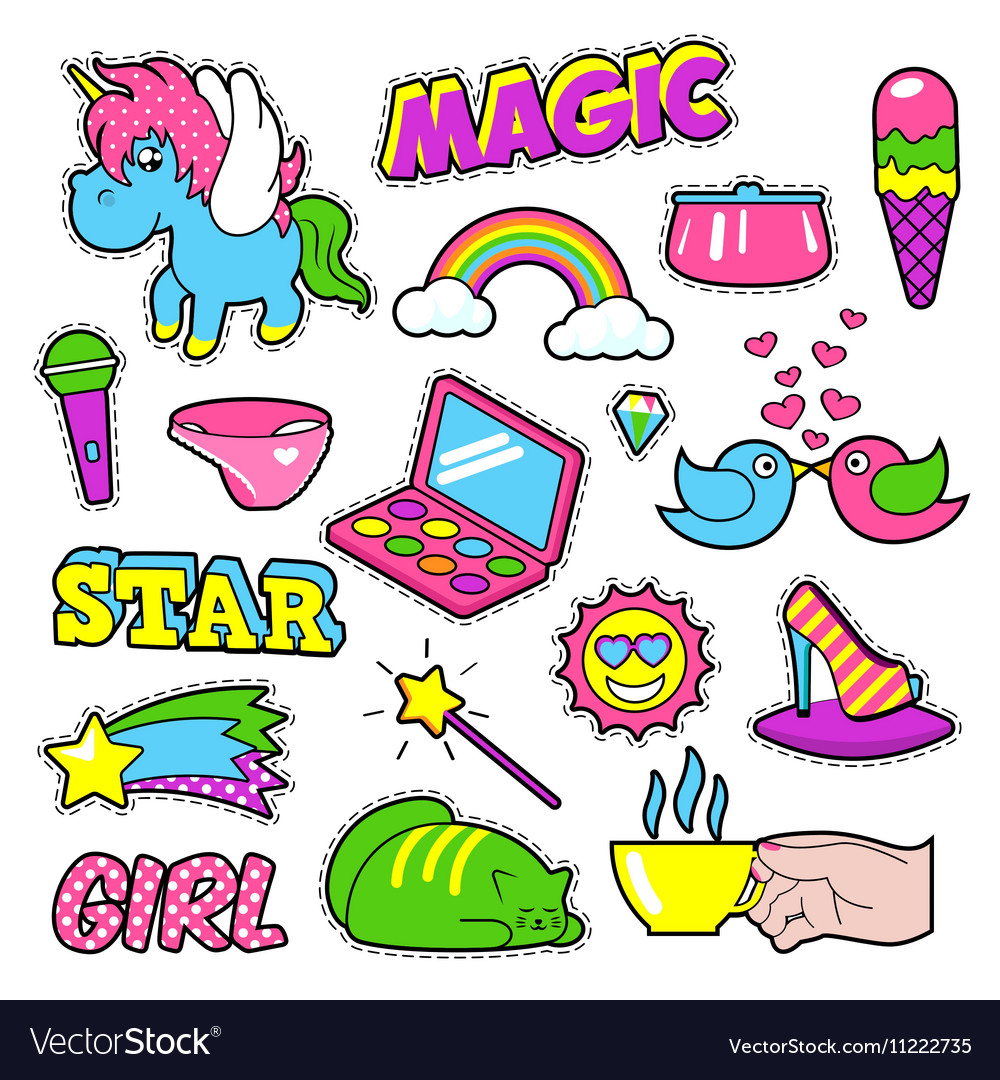 Fashion girls badges patches stickers  rainbow vector