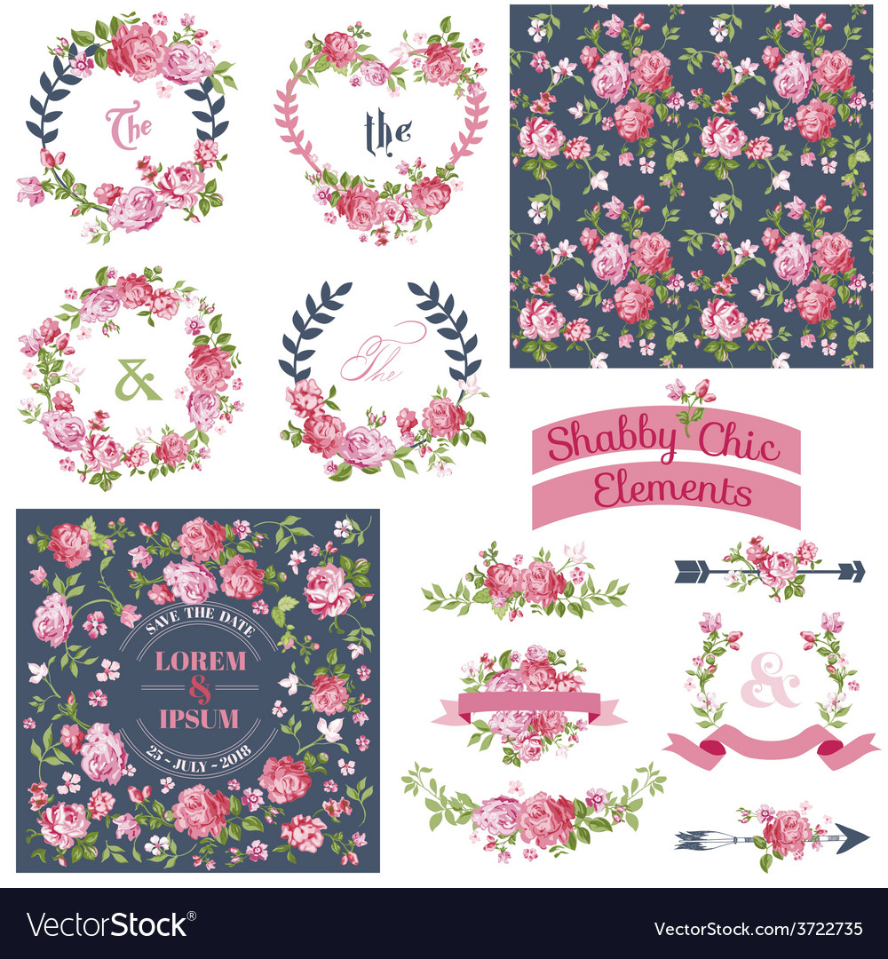 Floral set  frames ribbons backgrounds vector
