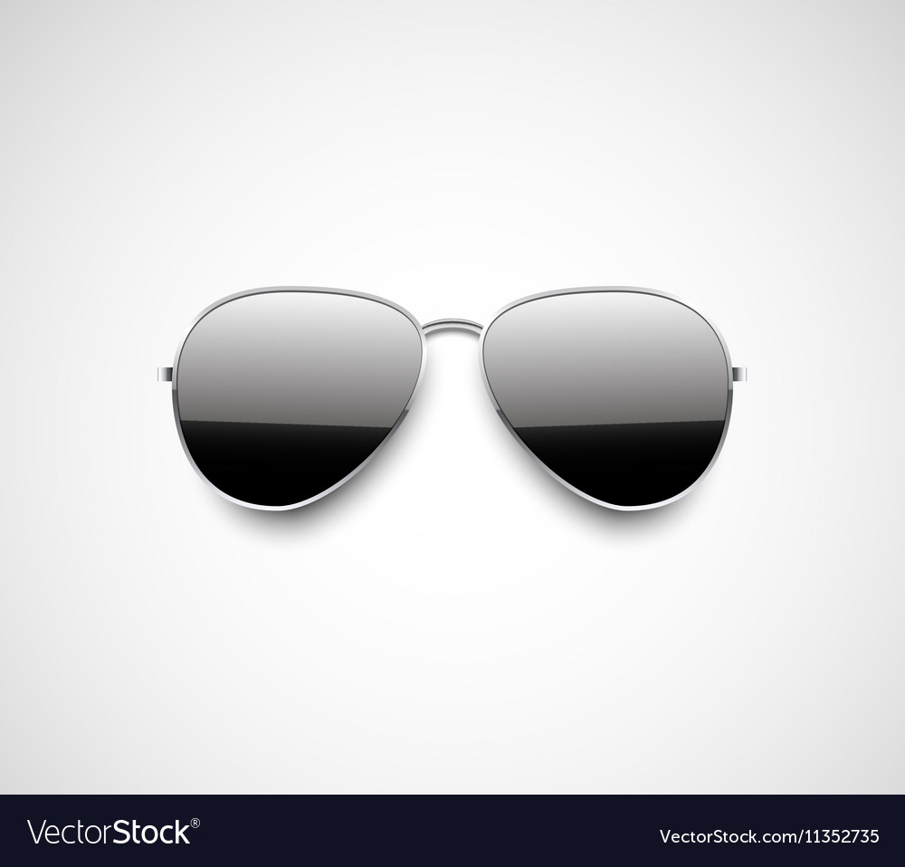 Glossy black aviator sunglasses design vector
