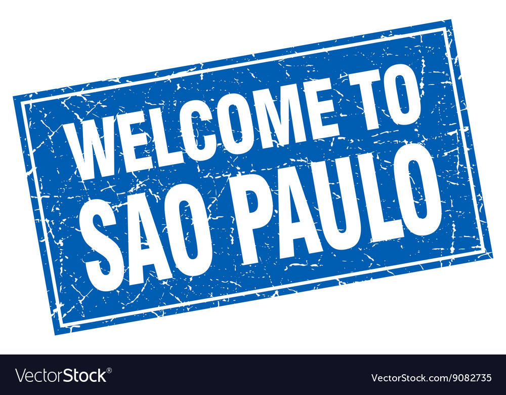Sao paulo blue square grunge welcome to stamp vector
