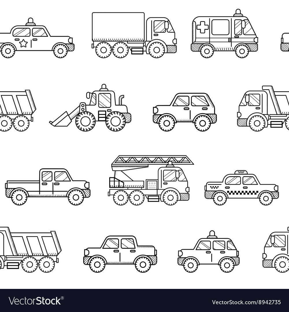 Seamless pattern cars black and white background vector